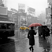 New York City Rain Prints - Yellow Cabs New York 2 Print by Andrew Fare