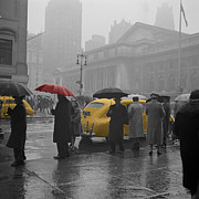 Yellow Taxis Framed Prints - Yellow Cabs New York 3 Framed Print by Andrew Fare