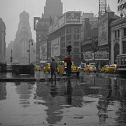 New York City Rain Prints - Yellow Cabs New York Print by Andrew Fare
