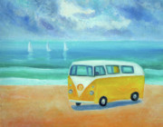Camper Paintings - Yellow camper by Mary Stubberfield
