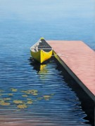 Wooden Dock Prints - Yellow Canoe Print by Kenneth M  Kirsch