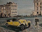 Prague Painting Framed Prints - Yellow Car in Prague Framed Print by Victor SOTO