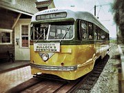 Streetcar Digital Art - Yellow Car - Los Angeles by Glenn McCarthy Art and Photography