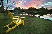 Lawn Chair Posters - Yellow Chair Poster by Eric Gendron