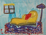 Chaise Drawings Posters - Yellow Chaise-Red Pillow Poster by Mary Carol Williams