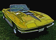 Sheats Prints - Yellow Chevy Corvette Stingray Print by Samuel Sheats