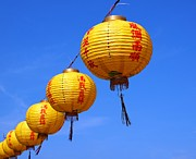 Paper Lantern Photos - Yellow Chinese Lanterns by Yali Shi