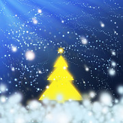 Blue Digital Art Originals - Yellow Christmas Tree by Atiketta Sangasaeng