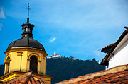 Bogota Prints - Yellow Church and Monserrate Print by Jess Kraft