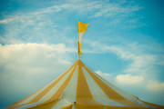 Circus Tent Framed Prints - Yellow Circus Tent Framed Print by Sonja Quintero