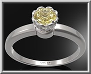 Custom Ring Jewelry - Yellow Citrine Sterling Silver Engagement Ring - Delicate Flower Ring by Roi Avidar