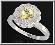 Promise Ring Jewelry - Yellow Citrine Sterling Silver Engagement Ring - Statement Flower Ring by Roi Avidar