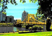 Pittsburgh Pirates Prints - Yellow Clemente Bridge Print by Erica Michelle