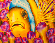 Reef Fish Tapestries - Textiles Posters - Yellow Clownfish Poster by Daniel Jean-Baptiste