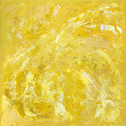 Bicycling Paintings - Yellow Color of Energy by Ania Milo