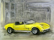 Classic Car Pastels - Yellow Corvette by Deborah Willard