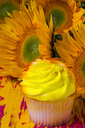 Yellow Posters - Yellow cupcake and sunflower Poster by Garry Gay