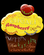 Cherry Art Mixed Media Prints - Yellow Cupcake Typography Print by Andee Photography