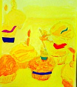 Yellow Cupcakes Print by Suzanne Berthier