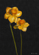 Interior Still Life Painting Metal Prints - Yellow Daffodils Metal Print by Sarah Parks
