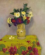 Tablecloth Prints - Yellow daisies and various flowers Print by Felix Edouard Vallotton
