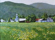 Red School House Painting Framed Prints - Yellow Daisies Framed Print by Karol Wyckoff