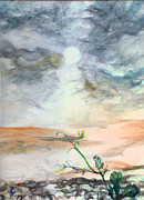 Iraq Painting Originals - Yellow Desert Flower by Neeley