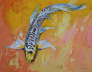 Koi Painting Posters - Yellow Dragon Koi Poster by Michael Creese