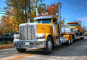 Fall Photographs Prints - Yellow Eighteen-Wheelers Print by Ester  Rogers