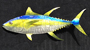 Metal Art Sculpture Originals - Yellow Fin Tuna by Diane Snider