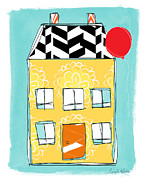 Cheerful Prints - Yellow Flower House Print by Linda Woods