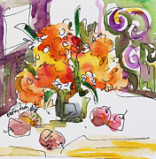 Becky Kim Artist Mixed Media Metal Prints - Yellow Flowers and Apples Metal Print by Becky Kim