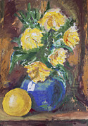 Pot Drawings Metal Prints - Yellow Flowers Bouquet painting Metal Print by Kiril Stanchev