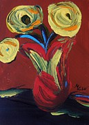 Primitive Drawings - Yellow Flowers in Artisan Vase by Mary Carol Williams