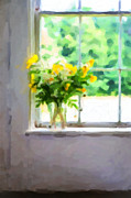 Window Sill Photo Posters - Yellow flowers in the window Poster by Diane Diederich
