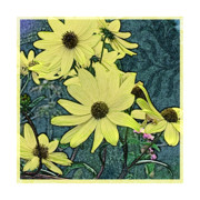 Floral Prints Mixed Media Posters - Yellow Flowers of October Poster by Valerie  Drake Lesiak