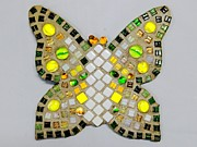 Glass Reliefs Posters - Yellow Flutterby Poster by Lisa Brandel