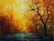 Rain Painting Framed Prints - Yellow Fog 2 - Palette Knife Oil Painting On Canvas By Leonid Afremov Framed Print by Leonid Afremov