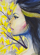 Watercolor Drawings Posters - Yellow girl Poster by Slaveika Aladjova