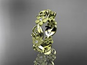 Leaf Engagement Ring Jewelry - Yellow Gold Diamond Flower Wedding Ring Engagement Ring Wedding Band by Anjays Designs