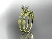 Leaf Engagement Ring Jewelry - Yellow Gold Diamond Unique Leaf And Vine Engagement Ring Wedding Ring by Anjays Designs