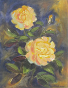 Yellow Flowers Posters - Yellow Gold Rose Poster by Karin  Leonard