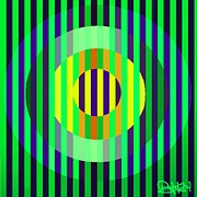 Op Art Painting Posters - Yellow Green and Blue Poster by Angela Kerbel