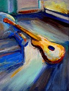 Frederick Luff Prints - Yellow Guitar Print by Luff  Gallery