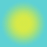 Optical Illusion Digital Art Posters - Yellow Halftone Dots on Aqua Poster by Paulette Wright