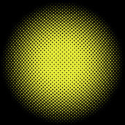 Optical Illusion Digital Art Posters - Yellow Halftone Dots on Black Poster by Paulette Wright