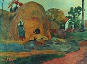 Ricks Prints - Yellow hay ricks Print by Paul Gauguin