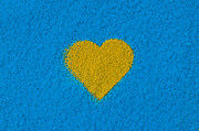 Yellow Heart Print by Tim Gainey