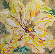 Peaceful Scene Mixed Media Prints - Yellow Hibiscus Collage Print by Kat Ebert
