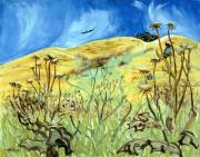 Blue Thistles Prints - Yellow Hills and Thistles  Print by Asha Carolyn Young